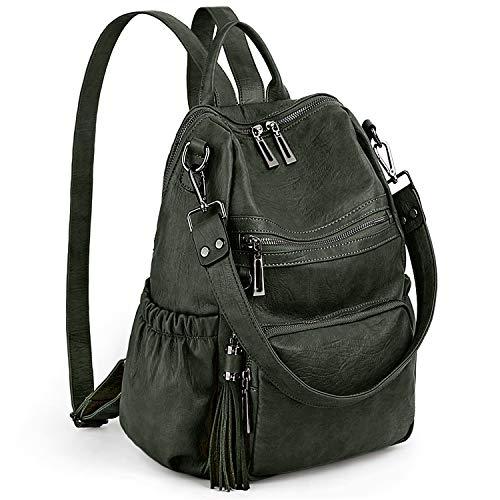 UTO Damen Rucksack PU Washed Leder Cabrio Quaste Reißverschluss Tasche Umhängetasche Dunkelgrün
