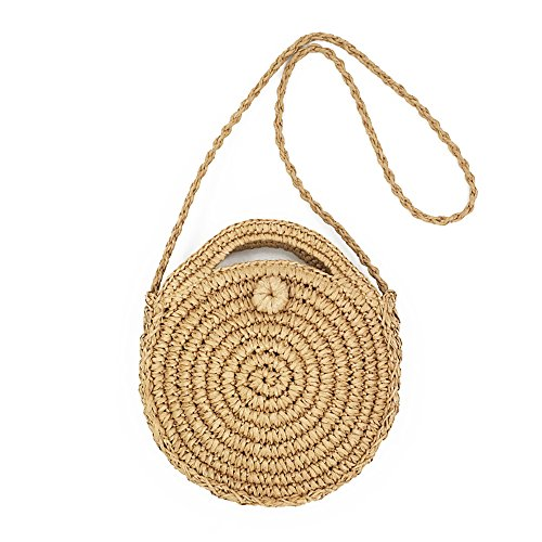 Cosyres Round Summer Straw Beach Bag Cross Body Bag for Women/Girl (Brown)