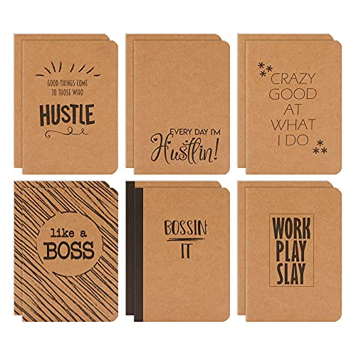 Small Kraft Notebook Journals, Motivational Quotes, 80 Pages (6 Designs, 12 Pack)