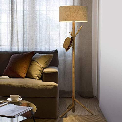 BJLWTQ Lámpara de pie, Se Enciende Simple Piso de Madera de América Modernos de pie luminarias de salón sofá Creativo Vertical de Dos Colores Bombilla Incluida, Blanca Luz para Leer,