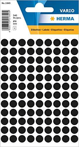 HERMA 1849 Vielzweck-Etiketten / Farbpunkte rund (Ø 8 mm, 5 Blatt, Papier, matt) selbstklebend, permanent haftende Markierungspunkte zur Handbeschriftung, 540 Klebepunkte, schwarz