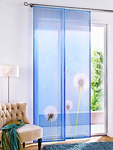 Gardinenbox.eu Schiebevorhang, mit Klettband, Farbe Blau, Motiv Pusteblume, Transparent, inkl. Montageanleitung und Zubehör, Waschbar, Maße HxB 245x60 cm
