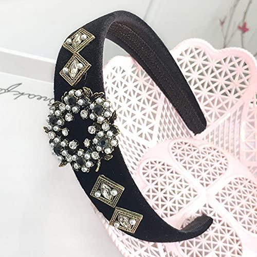 Fuduoduo Impresa Nudo De Moda Diadema,Nuevo Diadema Retro de Perlas con Taladro de Agua-Negro,Turbantes para Mujer Cabello Hair Band