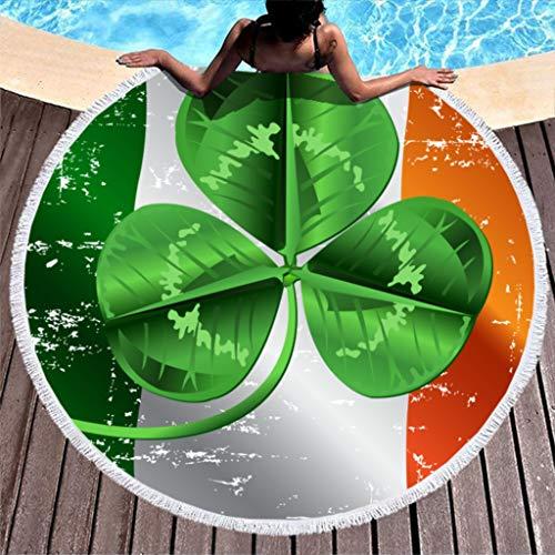 RNGIAN - Toallas de Playa Circulares Circulares para el día de San Patricio, Tapiz de Playa para Tumbona de Piscina, Alfombra de Yoga de Microfibra con Borla, poliéster, Blanco, 59 Inch