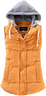 Womens Sleeveless Hooded Winter Quilted Button Up Down Vest Jacket
