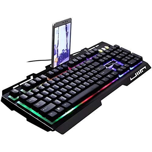 ZXGHS Teclado con Cable Ligero G700, Botón De Caracteres Grabado con Láser, Luz Transparente Y Panel De Metal, Lleno De Sensación (46 * 22 Cm),Negro