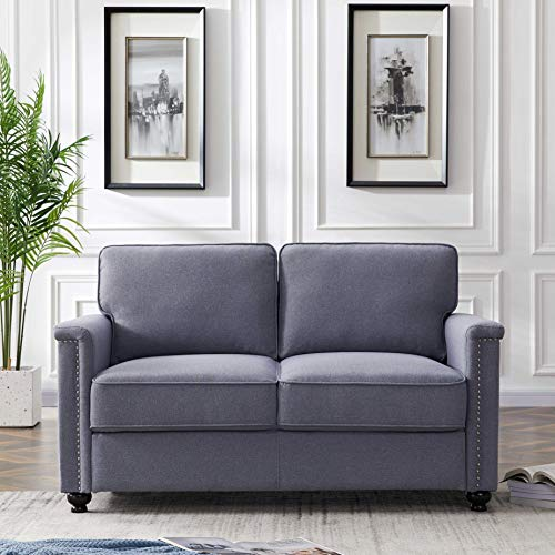 AINN Loveseat Sofa Couch, Stone and Beam Sofa with Round Armrests, Love Seat for 2 People, Mini Couch for Bedroom, Living Room, Dark Gray