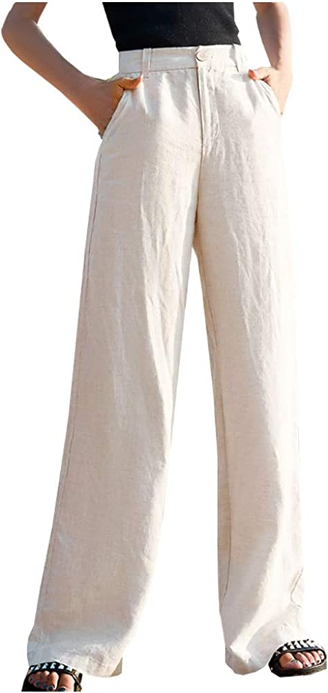SCOFEEL Women's Casual Cotton Linen Baggy Pants with Relax Fit Lantern Trousers