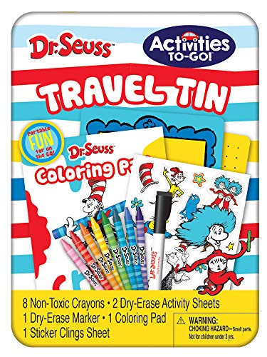 Dr. Seuss | Activities To-Go Travel Tin | Art Set | Includes 8 Crayons, 2 Dry Erase Activities with 1 Dry Erase Marker, 1 Coloring Pad, and 1 Sheet of Repositionable Sticker Clings