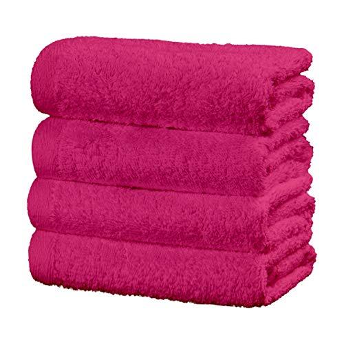 Viste tu hogar Juego de 4 Toallas Hechas 100% de Algodón,30x50 cm, Suaves y Absorbentes, Ideales para Uso Diario y Decoración, en Color Rosa.