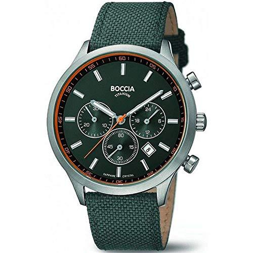 Boccia Herren Chronograph Quarz Uhr mit Leder Armband 3750-01