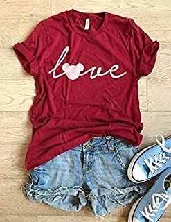 Mickey Mouse Love/Hand Screen Printed With Eco Earth Friendly Ink/Disney Love T Shirt/Cool T Shirt/Disney Trip Shirt/Unisex Fit From Bella Canvas/Crew-Neck Shirt/