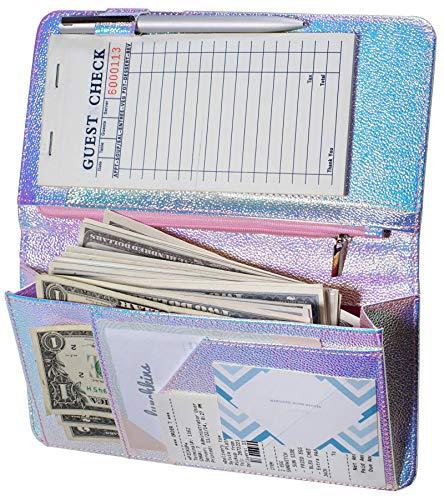 Zreal Server Book for Waitress with Zipper Pocket, 5 X 9 Serving Book, Magnetic Closure Pocket with Big Volume, Pen Holder for Waiter Server Wallet Fit Waitress Apron (Iridescent B)
