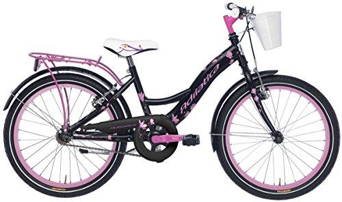 Bicicletta Cicli Adriatica Girl da bambina, telaio in acciaio, ruota da 20', senza cambio, due colori disponibili (Nero / Rosa)