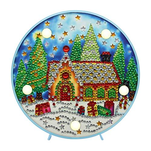 Uonlytech Weihnachten DIY Diamant Malerei Lampe mit LED-Lichter Vollbohrkristall Zeichnungssatz Nacht Nachtlicht Kunsthandwerk für Heimtextilien (Zufällige Farbe)