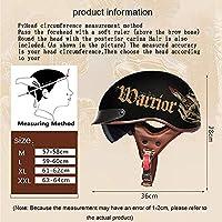 オートバイハーフヘルメット-スカルキャップハーフヘルメット-スクーターモペット用のクールハーフヘルメットDOT/ECE承認済み N,M57-58CM
