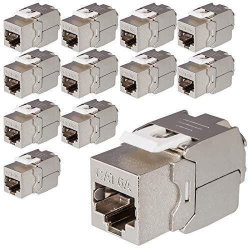 12x HB-DIGITAL Cat.6a Keystone RJ-45 Buchse frontal Modul bis zu 500 MHz 10Gbit/s vollgeschirmt werkzeuglos Cat6a cat6 STP Kupplung Netzwerk Einbaubuchse für Patchpanel Verlegekabel Ethernet LAN