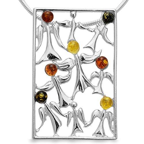 Bernstein Schutzengel Engel Engels 925 Silber Kettenanhänger Moderne Amulett Medaillon #1635