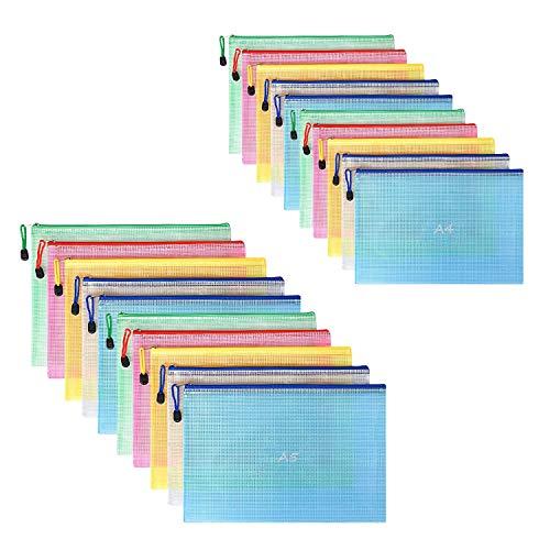 VEGCOO 20 Piezas Bolsa de Documentos de Malla A4A5, Bolsa de