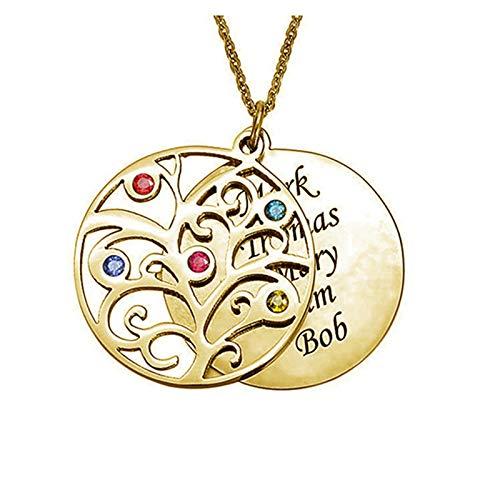 Collar familiar Collar con nombre grabado Collar con nombre personalizado Colgante de árbol genealógico Aniversario para mamá(Dorado 22)