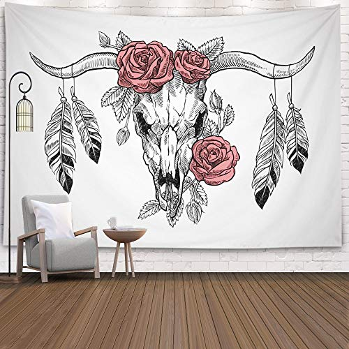 ROOLAYS Wall Hanging Tapestry, Home Art Decor Wall Hanging Tapestry Bull Skull Roses Her Head Feathers Hanging from The Horns Graphic Technique with 60X50 Inches for Living Room Dorm