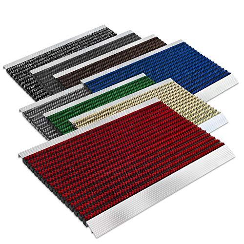 Floordirekt PRO Repräsentative Fußmatte Profi Brush - Testurteil Sehr Gut - Schmutzfangmatte mit Alu Rahmen für außen und innen - Verschiedene Bürsten Farben und Größen (40x60cm Rot)