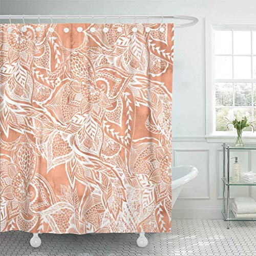 Badevorhang Shower Curtain Modern Tan Copper Terracotta Floral Watercolor White Boho Hand 66