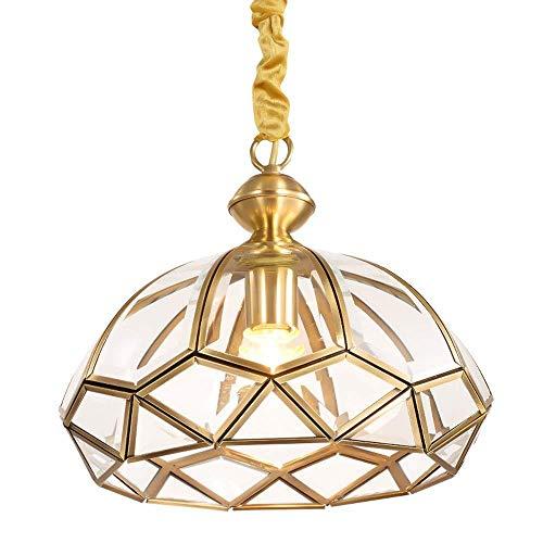 miwaimao Lámpara de araña, lámpara de araña americana, de cobre, cristal, dormitorio, estudio, 30 x 26 cm, lámpara de cabeza individual A ++
