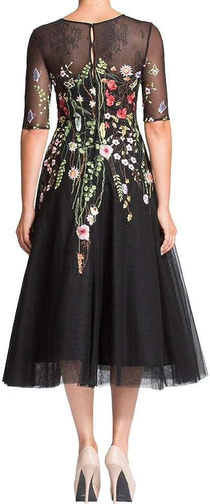 Elinadress Women's Half Sleeves Floral Print Tulle Formal Evening Dress A-Line Tea Length Mother of Bride Dresses