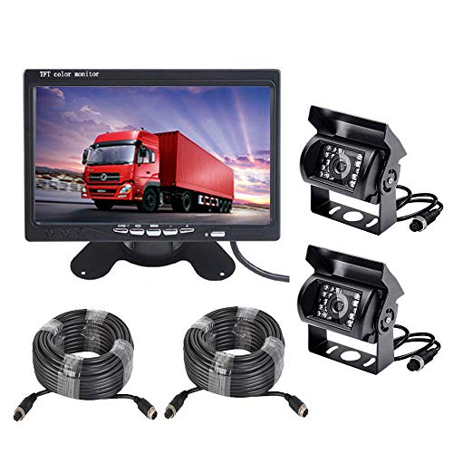 Vehicle Backup Camera and 7 inch Screen Monitor Kit,2 x IR Night Vision Reverse Rear View Camera System with 4 Pin 15m 20m Cable for RV Truck Trailer Bus Camper Motorhome backup Cameras Vehicle