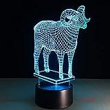 Accesorio de dibujos animados de modelado de cabra Luz nocturna 3D LED USB Lámpara de mesa regalo de cumpleaños para niños decoración de la habitación