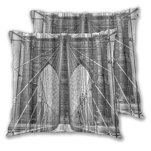 CONICIXI 2 Pack Funda de Almohada Escena de Nieve Vintage Puente de Brooklyn Nueva York Lino Suave Cuadrado Sofá Cama Decoración Hogar para Cojín 60cm x 60cm