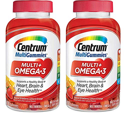 Centrum MultiGummies Multi + Omega-3 Supplement That Supports a Healthy Body, Heart, Brain and Eye Strength in Delcious Natural Strawberry, Lemon and Orange Flavor (100 Gummies) Pack of 2