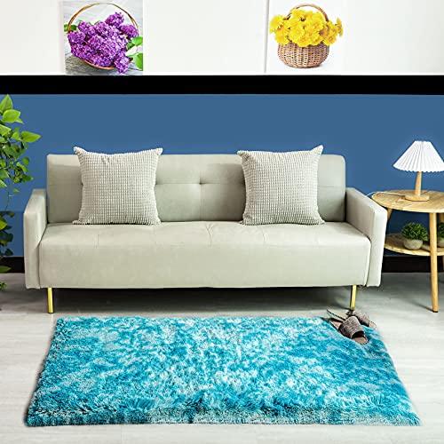 Alfombra de Felpa QUANHAO, Alfombra mullida, Alfombra Antideslizante para el hogar, Felpudo Cuadrado, Alfombra Gruesa, decoración del hogar (Azul, 80x120cm)