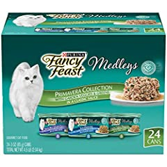 Twenty-Four (24) 3 oz. Cans - Purina Fancy Feast Gravy Wet Cat Food Variety Pack, Medleys Primavera Collection Tender tuna, turkey or chicken offers delicious taste and texture 100% complete and balanced nutrition for adult cats Classic light sauce t...