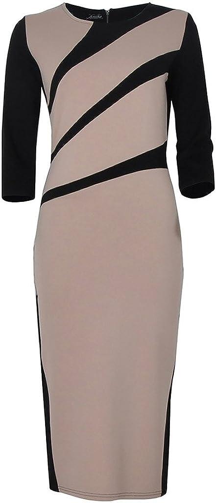 ZANLICE Women's Crew Neck Half Sleeve Splicing Pencil Dress For S M L XL