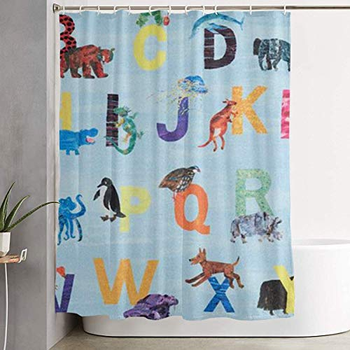 DHGER Duschvorhang Zoo Alphabet Blue Printed Shower Curtains Waterproof Washable Polyester Fabric 60 X 70 Inch Bathroom Decor Set with Hooks