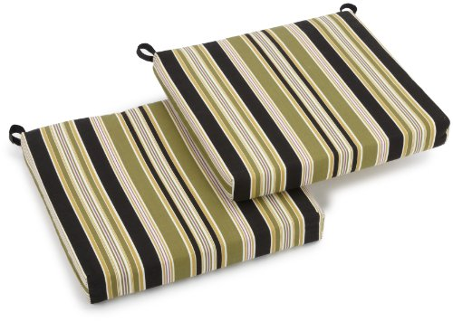 Blazing Needles Outdoor Spun Poly 19-Inch by 20-Inch by 3-1/2-Inch All Weather UV Resistant Zippered Cushions, Eastbay Onyx, Set of 2