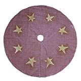 CVHOMEDECO. Country Rustic 50 Inch Christmas Tree Skirt Double Layers Burgundy Plaid Stitching Eight Burlap Stars for Christmas Holiday Party Décor.