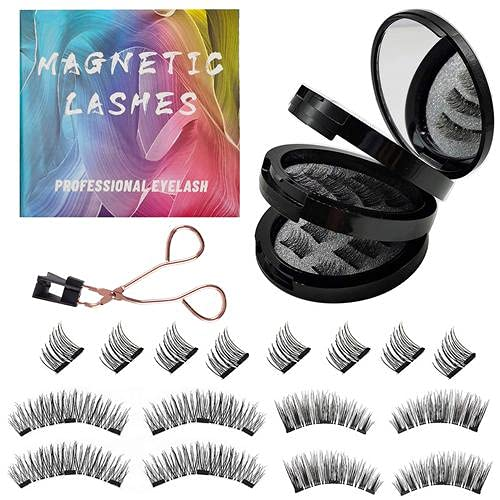 Gemonad Magnetic Eyelashes, No Glue Reusable False Magnetic Eyelashes with Lashes Clip, Magnetic Eyelashes Soft 3D Natural Looking Easy to Wear (4-Pairs/16 Pieces)