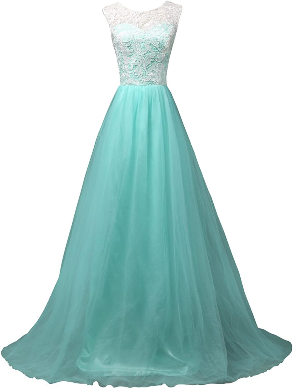Bonnie clothing Women's Lace and Tulle Mint Green Puffy Evening Party Prom Dress