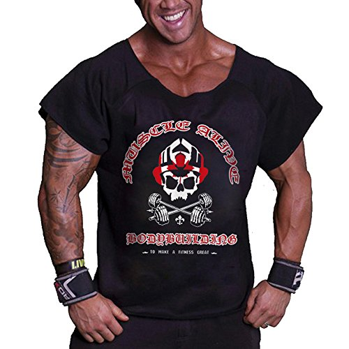 Loose Rag Top Gym e l'usura del tempo libero è progettato per bodybuilding e fitness. Realizzato in cotone al 100% di alta qualità, maniche larghe e collo scuro che li rende perfetti per gli allenamenti. Tessuto sottile e leggero per rilasciare il co...