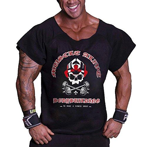 Musclealive Herren Bodybuilding Rag Top Trainieren Terry Baumwolle