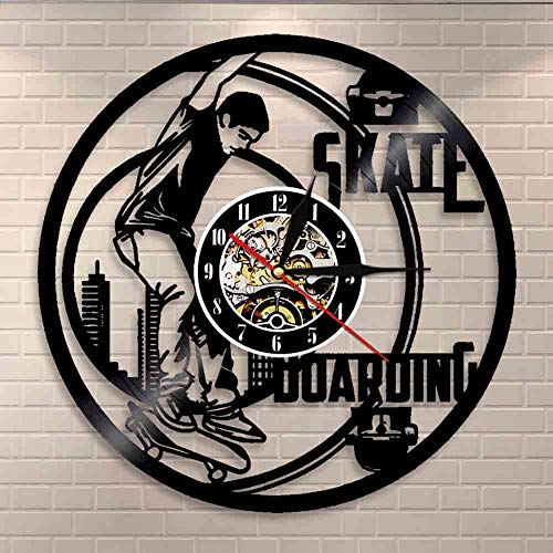 wtnhz LED-Freestyle skating boarding wall clock extreme sports skateboard board vinyl record wall clock skating boarder home decor modern design