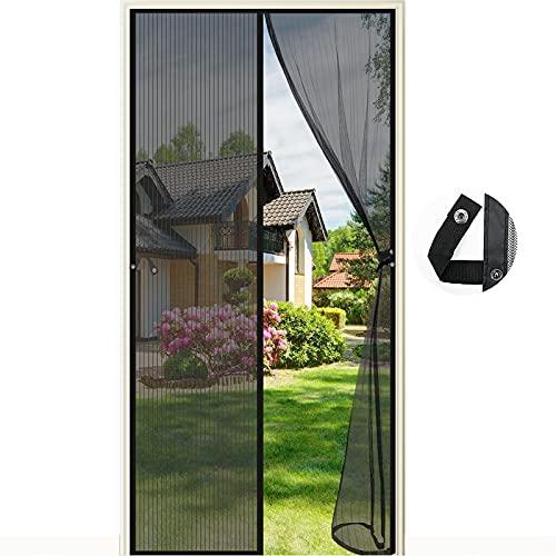 Fliegengitter Tür Magnetisch,90 x 210CM Moskitonetz Tür Insektenschutz Fliegenschutzvorhang Automatisch Verschließen Magnet für Balkontür Wohnzimmer Terrassentür, Klebemontage (schwarz)