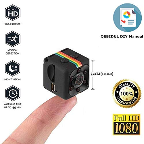 QEBIDUL Cop Mini Camera Spy Hidden 1080P Full HD Sports Micro Car Nanny Cam SQ11 Upgrade Motion Detection Camcorder Infrared Night Vision Digital Video Recorder Wide Angle Outdoor Indoor Office