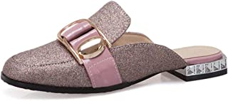 Women's Glitter Mules Loafers Square Toe Backless Slip On Flat Low Heel Slip On Slides Shoes