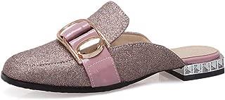 Women's Glitter Mules Loafers Square Toe Backless Slip On Flat Low Heel Slip On Slides Shoes