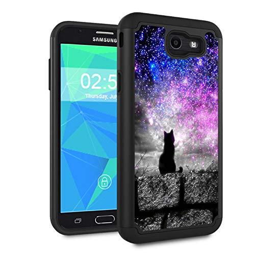Galaxy J7 V 2017/J7 2017/J7 Prime/J7 Perx/J7 Sky Pro/Galaxy Halo Case,Spsun Dual Layer Hybrid Hard Protector Cover Anti-Drop TPU Bumper for Samsung Galaxy J7V 2017,Hipster Cat Galaxy