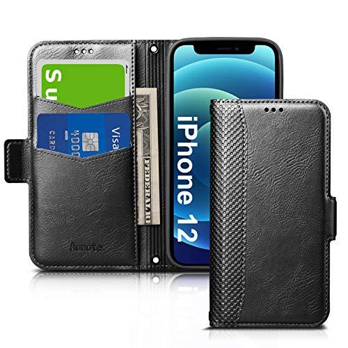 iPhone12ケース 手帳型 iPhone 12 ケース 財布型 スマホケース PUレザー 全面保護 耐衝撃 カード収納 マグネット付き ワイヤレス充電対応 スタンド機能 シンプル おしゃれ (アイフォン12ケース ブラック)